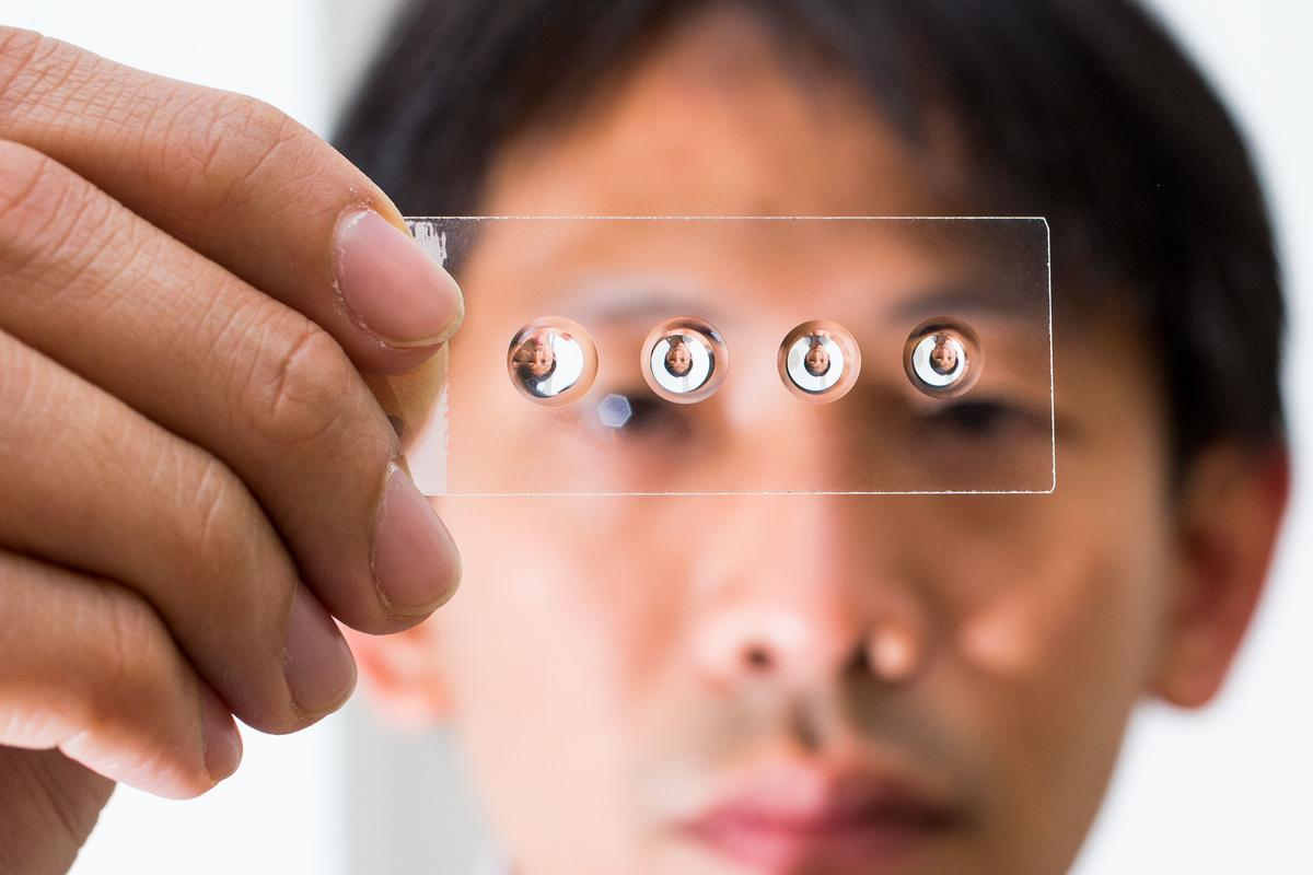Dr. Steve Lee, with some of his easy-bake lenses