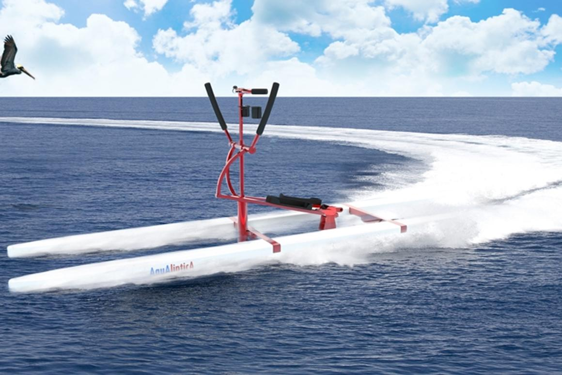 The Aqua Elliptica is a new watersport device that combines a cross trainer with a paddleboard