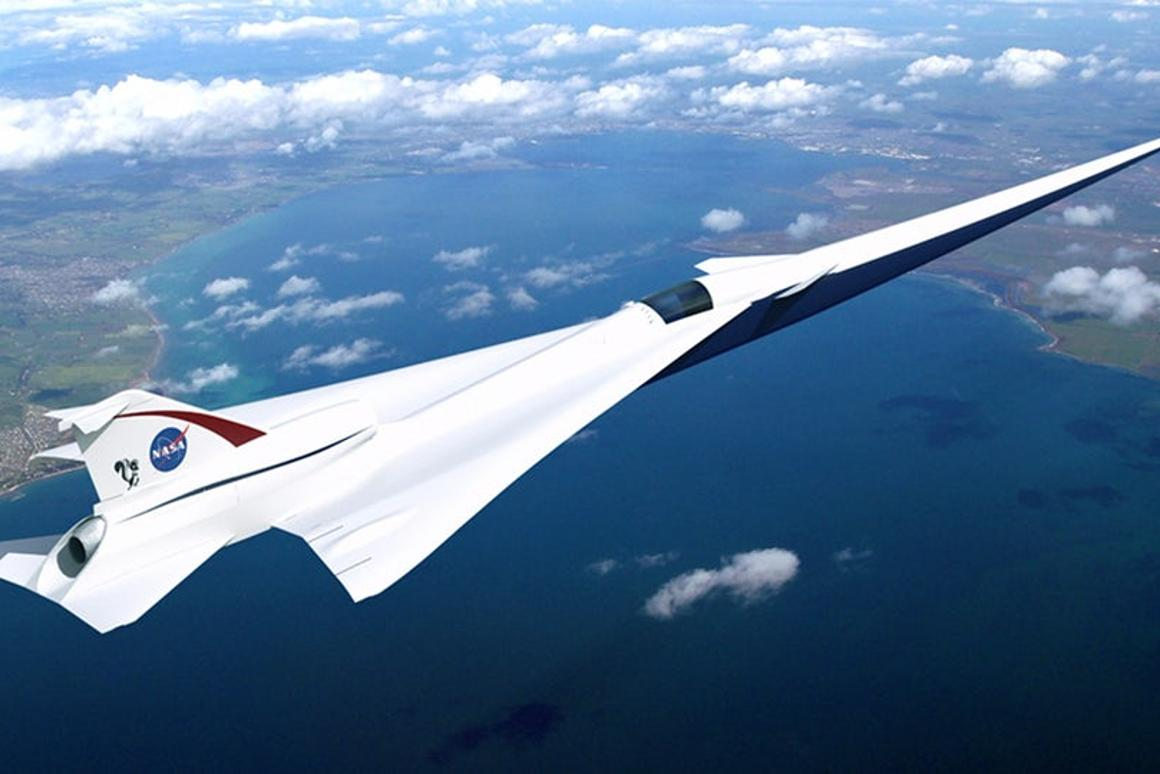 Artist's concept of Lockheed Martin's Quiet Supersonic Technology (QueSST) X-plane