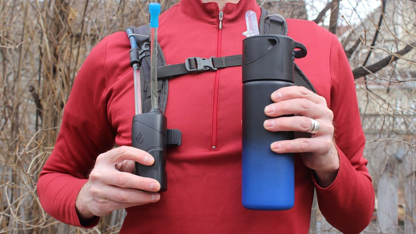 Infuze's hydration pack-attached Hydro (left) and its Vessel water bottle