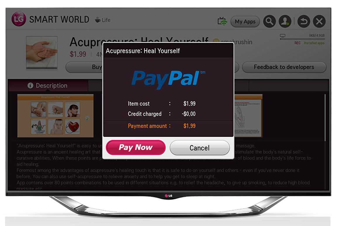 LG has integrated PayPal into its Smart TV platform