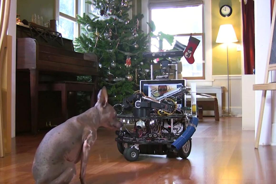 Jordan Correa, a robotics developer with Microsoft, built a dog-sitting robot that lets the owner interact with his dog over the internet
