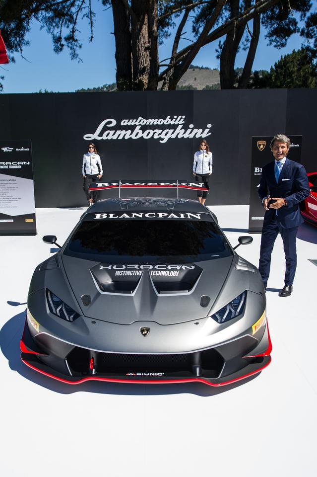 Lamborghini boss Stephan Winkelmann with the Huracan Super Trofeo