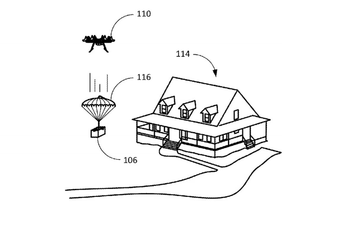 Amazon has been awarded a patent for a parachute that folds up inside a shipping label, to allow deliverydrones to drop items from above