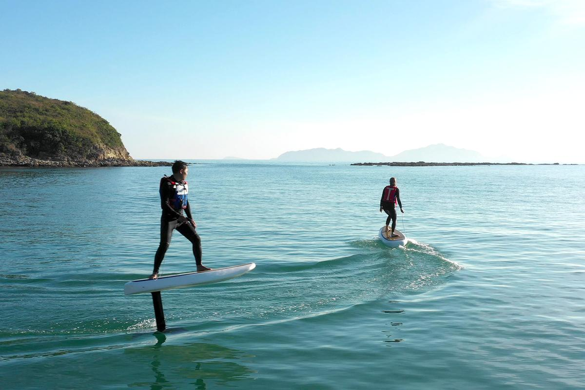 "The Waydoo Flyer allows users to ""surf"" on flat water"