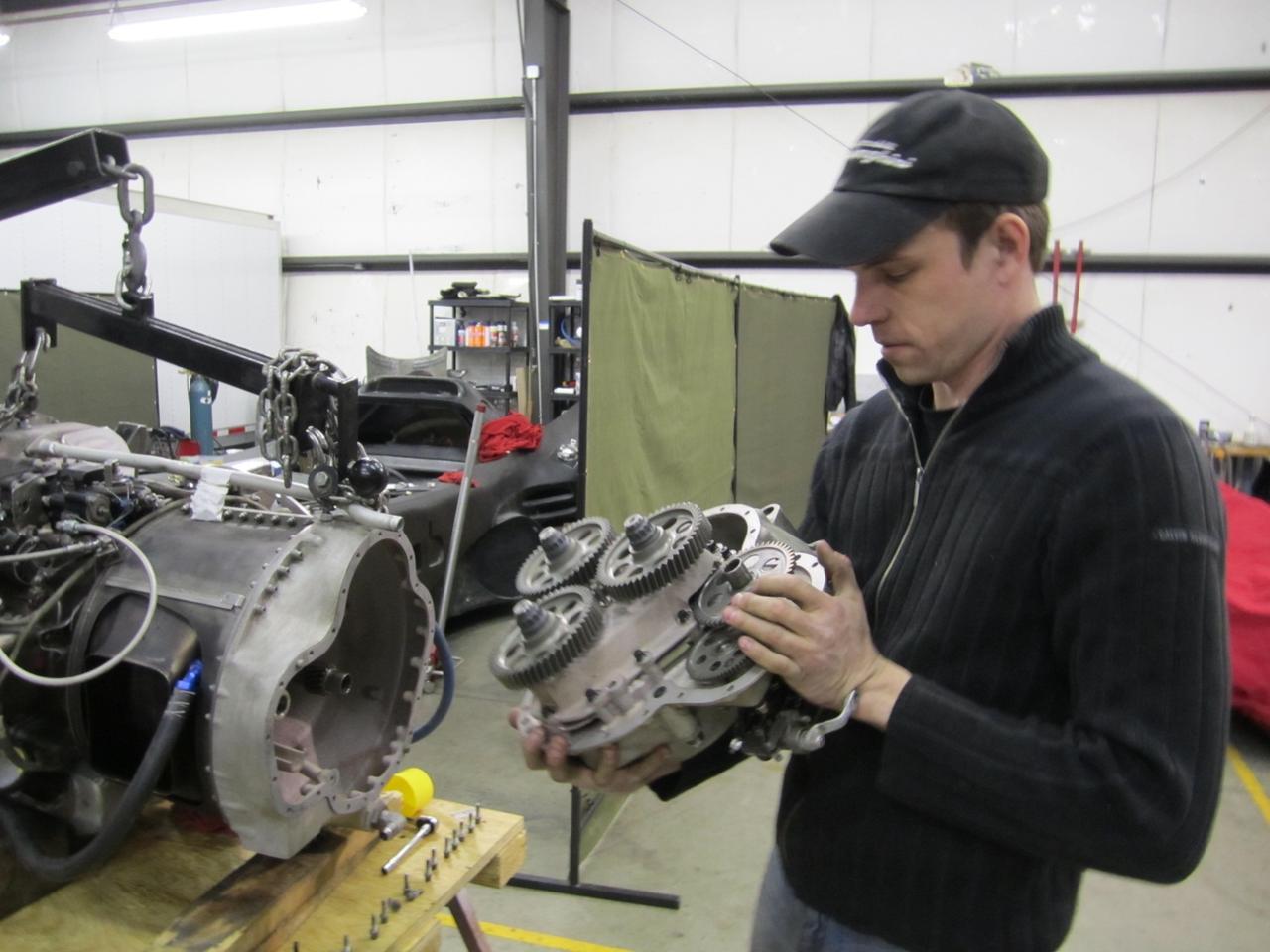 Casey Putsch, working on the jet turbine engine for his Batmobile replica (Photo: Putsch Racing)