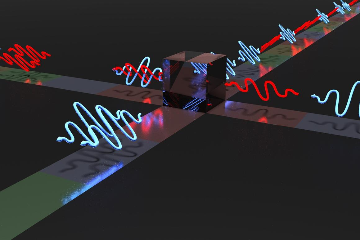 Depiction of indistinguishable photons leaving through the same output port of a beam splitter