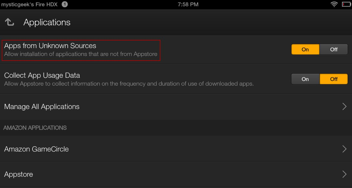 Enable installation of apps from unknown sources