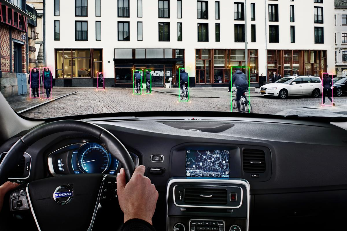 Volvo's Pedestrian and Cyclist Detection with full auto brake system can ascertain the moving pattern of pedestrians and cyclists