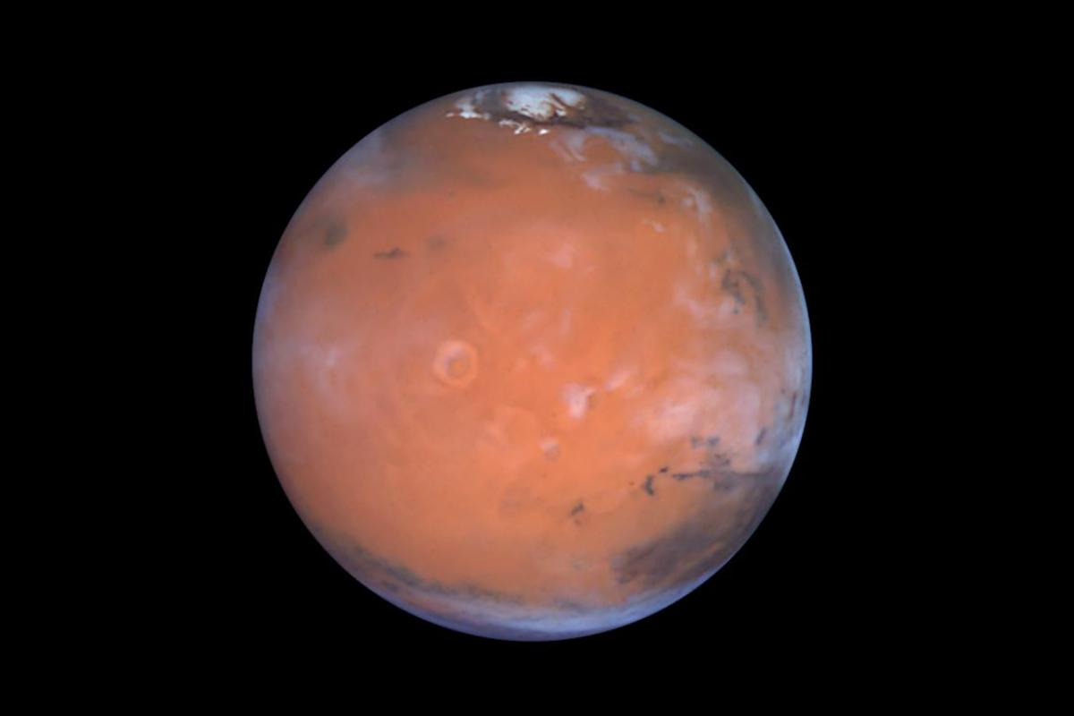 The planet Mars as captured by the Hubble Space Telescope in 1997. The Medusae Fossae Formation is located in the lower left portion of the image