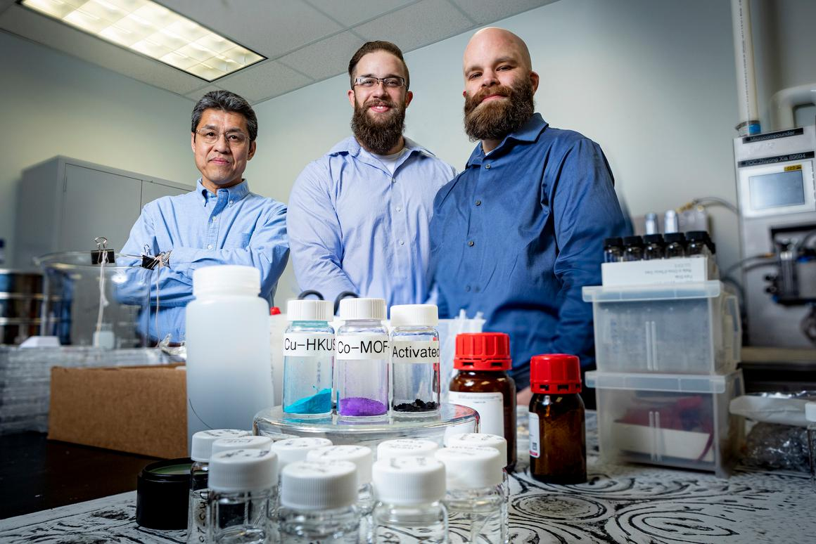 From left, researchers on the study Zhiyong Xia, Matthew Logan and Spencer Langevin