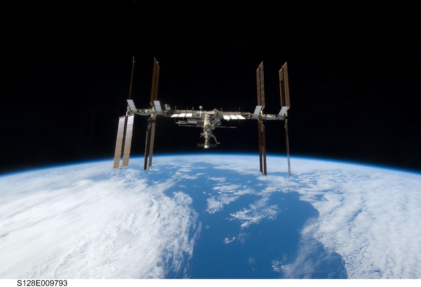 The International SpaceStation as imaged from the Space Shuttle Discovery in 2009