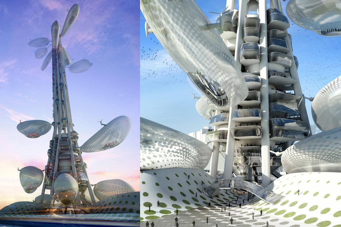 "Dorin Stefan's ""Floating Observatories"" tower; construction begins in 2012 in Taechung, Taiwan"