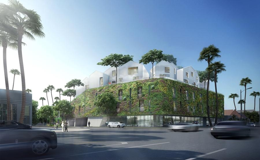 8600 Wilshire's 5,000 sq ft (465 sq m) living wall will be planted with low-water needs plants that are native to California