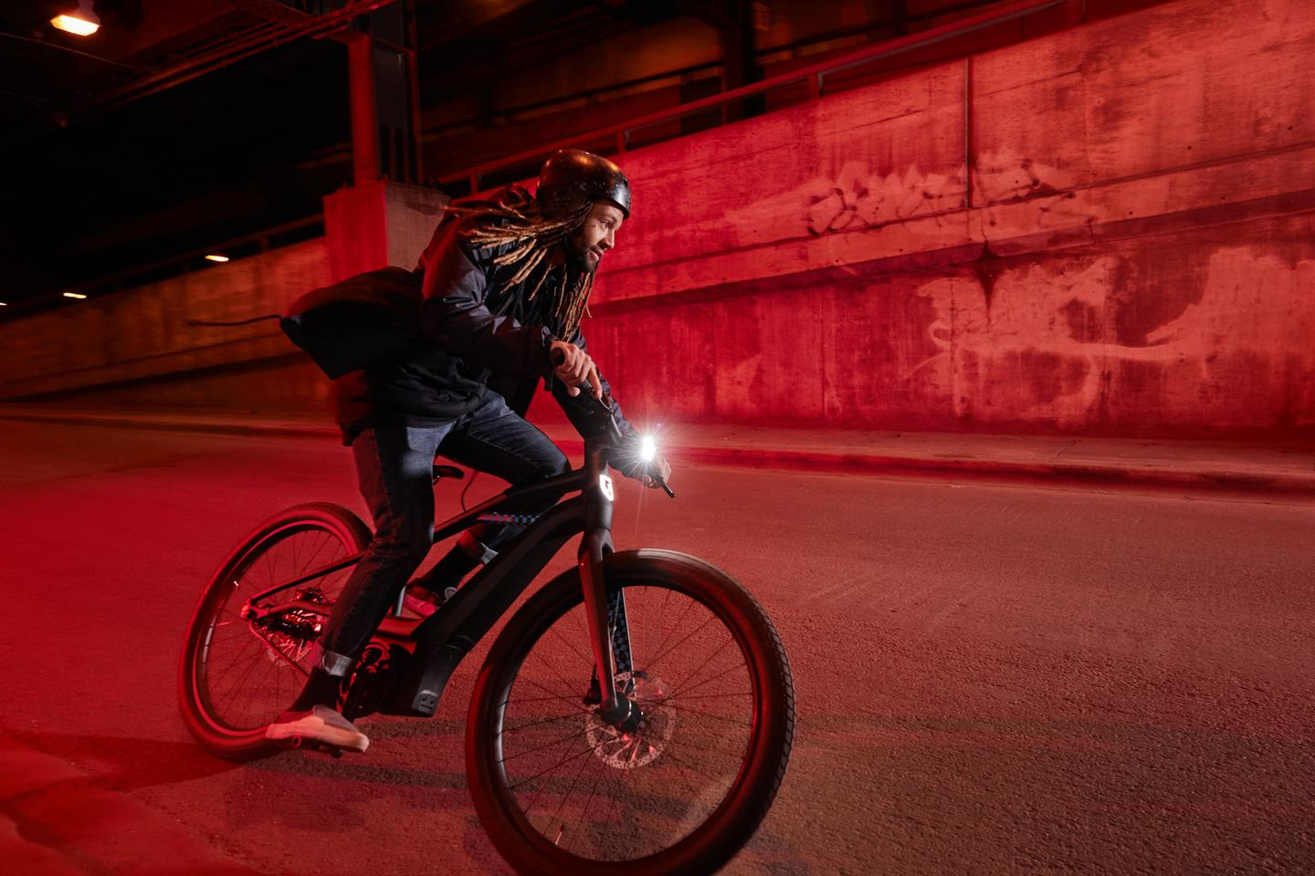 The shield and headlight to the front of Serial 1 CTY ebikes provide after-dark illumination