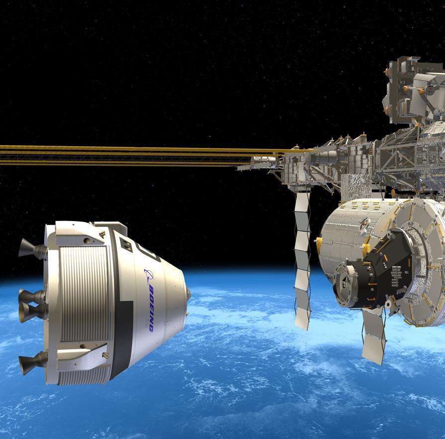 Artist concept of Boeing's CST-100 spacecraft approaching the International Space Station (Image: Boeing)