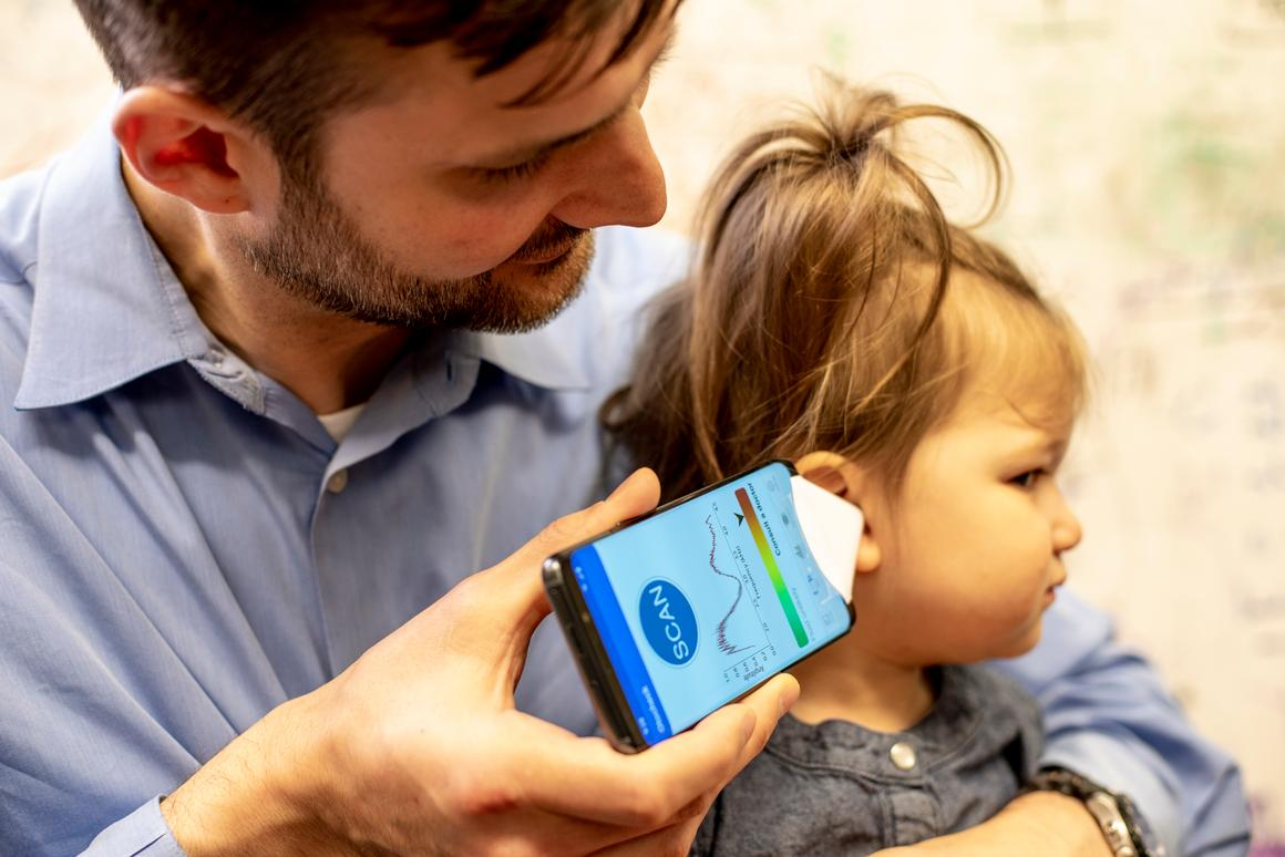 Dr. Randall Bly, an assistant professor of otolaryngology-head and neck surgery at the UW School of Medicine who practices at Seattle Children's Hospital, uses the app to check his daughter's ear