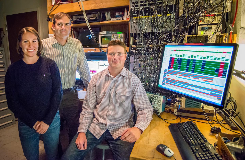 From left – Sydney Schreppler, Dan Stamper-Kurn and Nicolas Spethmann were part of a team that detected the smallest force ever measured (Photo: Roy Kaltschmidt)