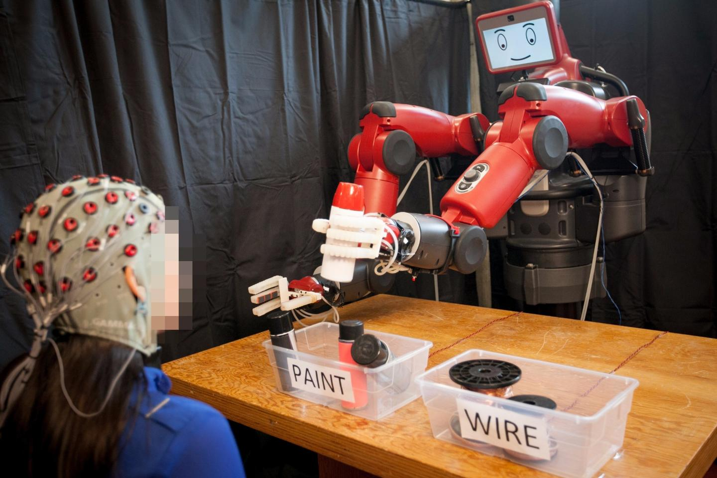 The feedback system enables human operators to correct the robot's mistake in real-time