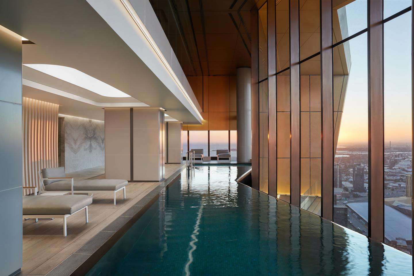 As well as the pool pictured, the Starburst hosts lounges, meeting spaces, dining rooms, a theater, two gyms, and a vertical sky-garden