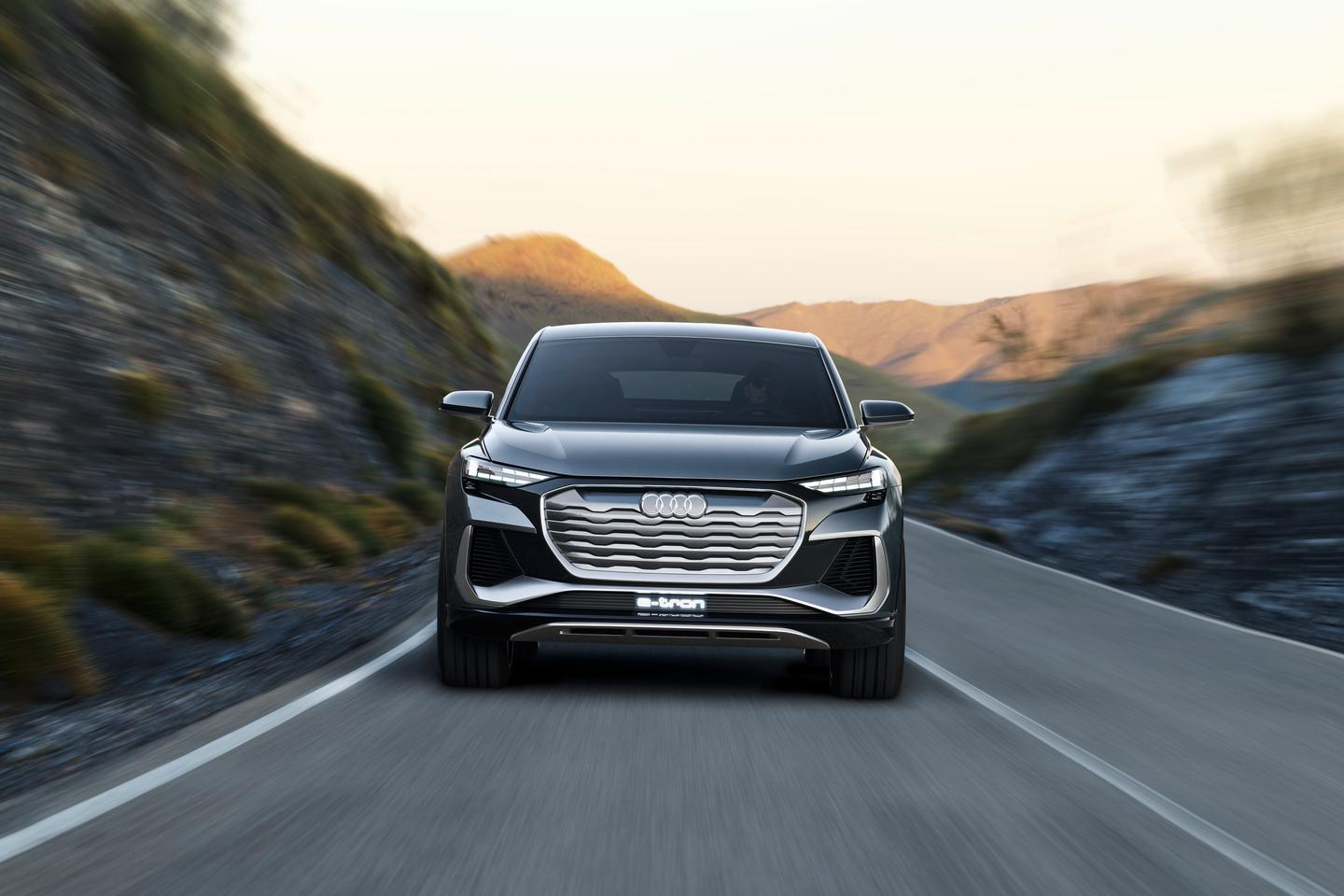 The Q4 Sportback e-tron has a strong single-frame grille surround and near-solid e-tron grille