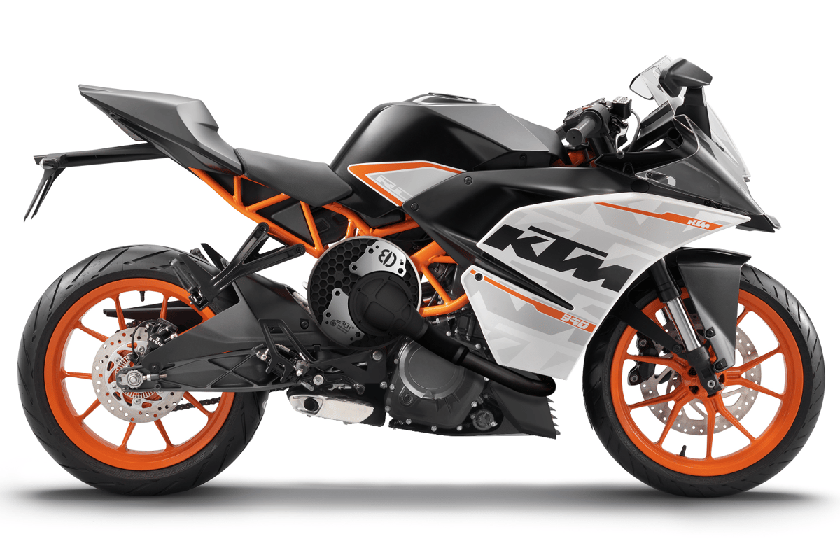 Alter Ego's Drum Charger:CAD render showing where the charger would fit on a KTM RC390 sportsbike