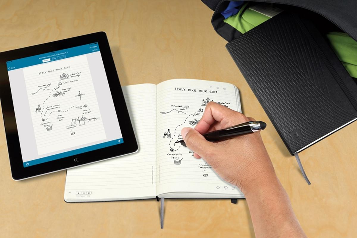 The Moleskine Livescribe notebook works with Livescribe smartpens and pairs with iOS devices to digitize hand-written or drawn content