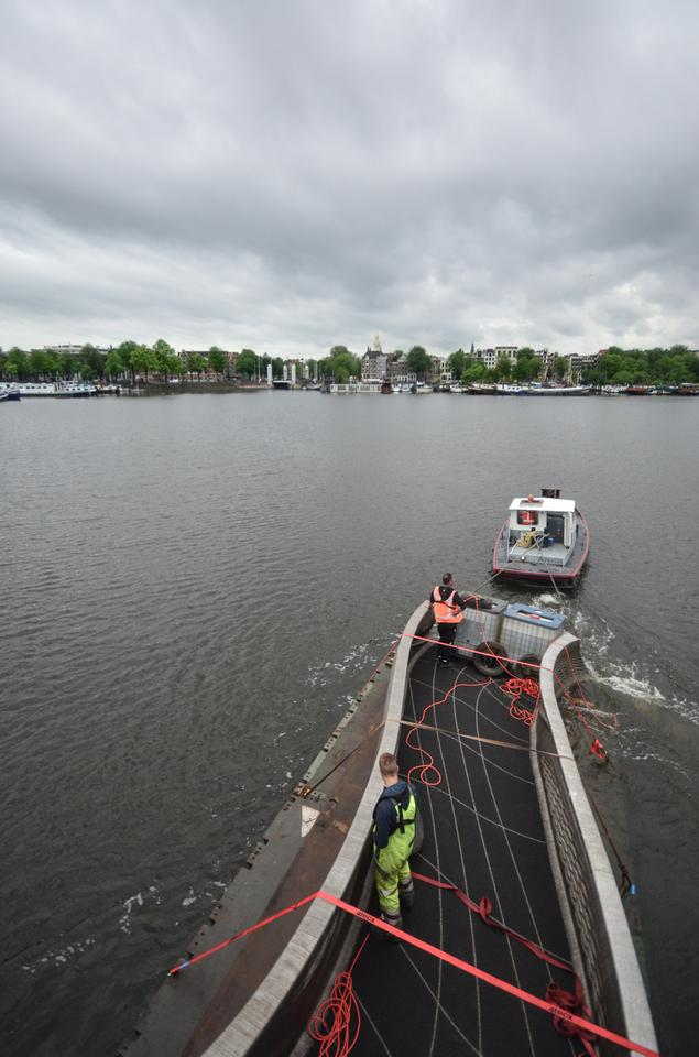 The 3D-printed bridge was transported to its final destination by boat
