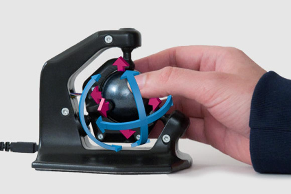 The 3D-Spheric-Mouse from axsotic offers digital artists one-handed, high resolution manipulation of objects in a 3D workspace
