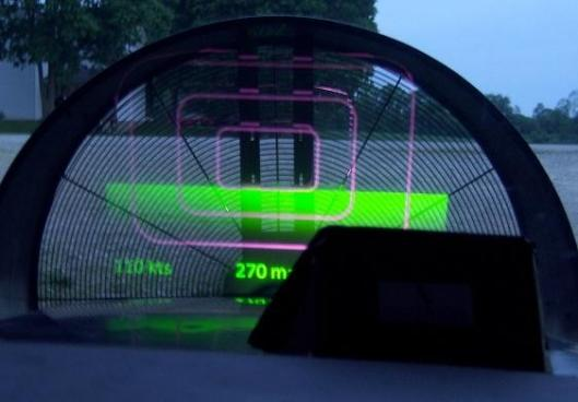 The VirtualHUD projecting onto a mock propeller setup