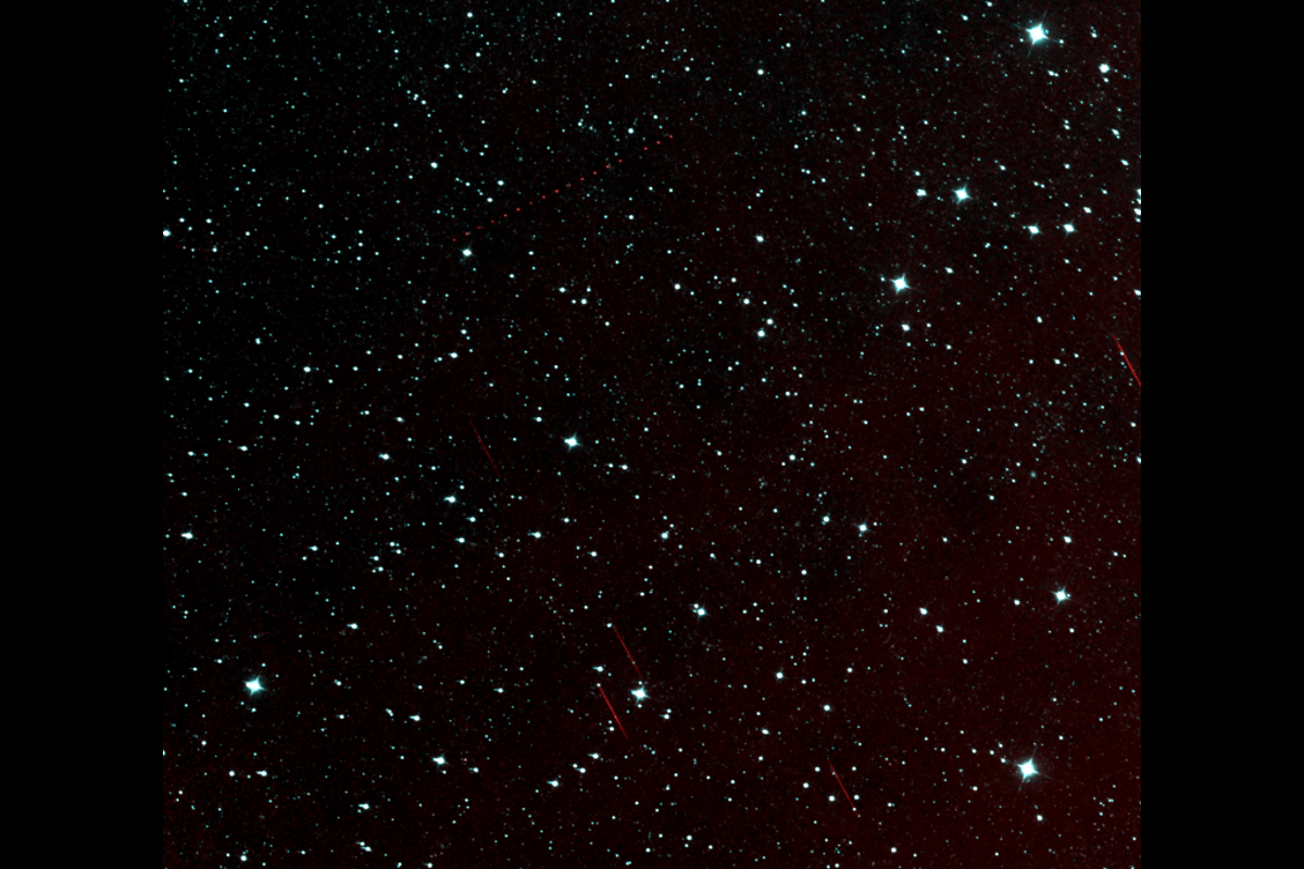 Path of asteroid (872) Holda, as seen by NEOWISE, shown as a dotted red line (Image: NASA)