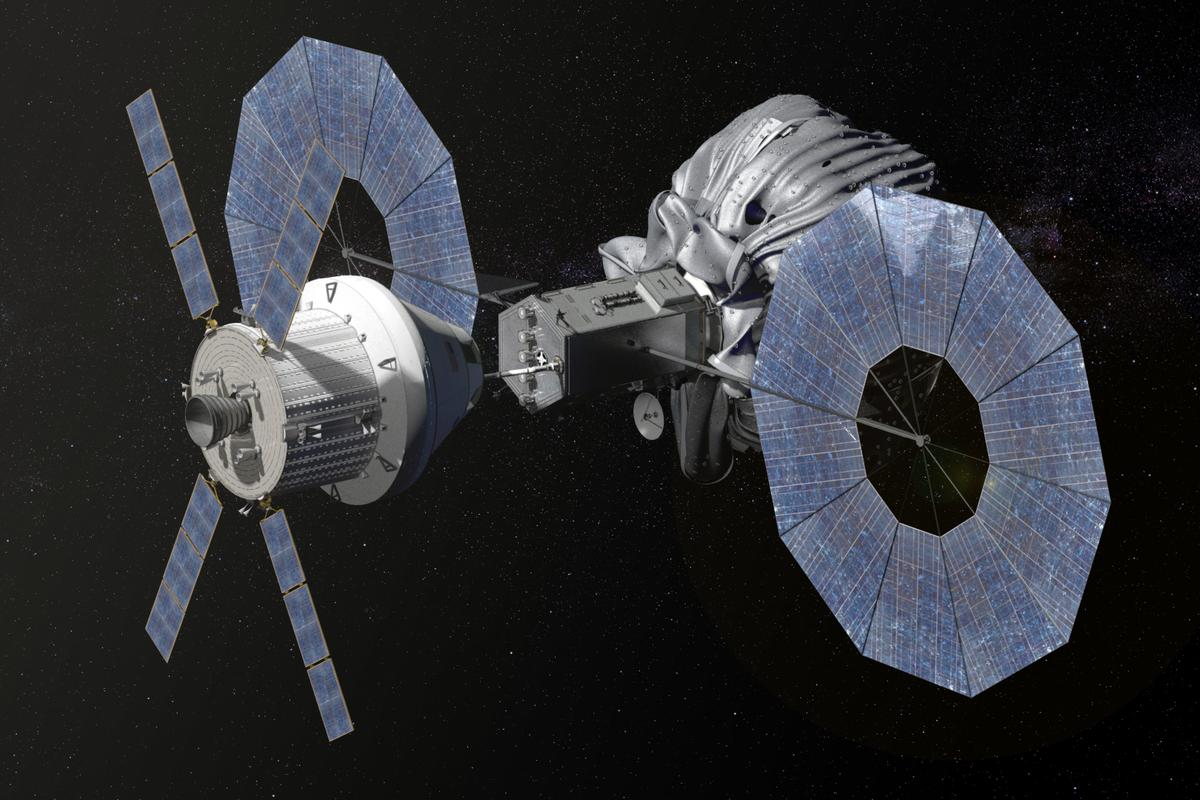 Concept image showing Orion spacecraft approaching the robotic asteroid capture vehicle (Image: NASA)