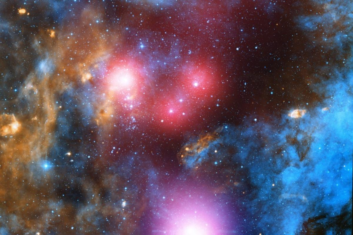 A composite image comprised of optical data from the Isaac Newton Telescope and X-ray data from Chandra showing the stellar association Cygnus OB2