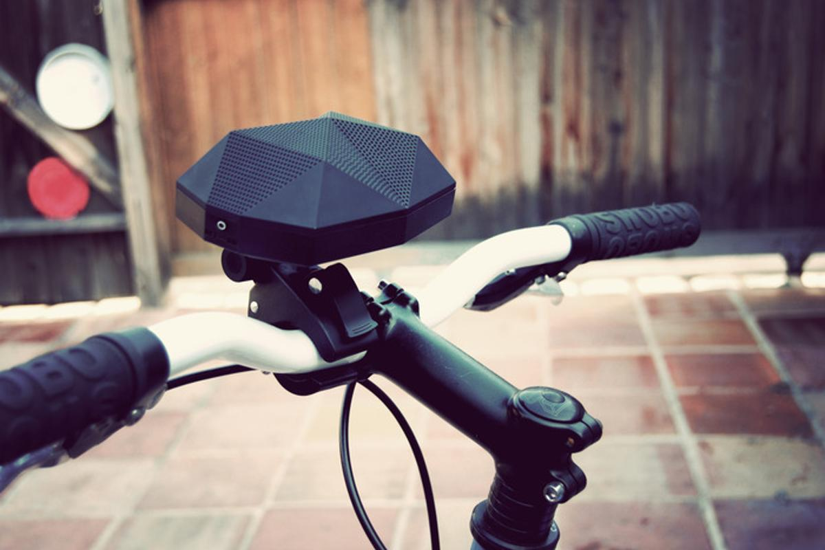 The Turtle Claw mounts to a bicycle's handlebars