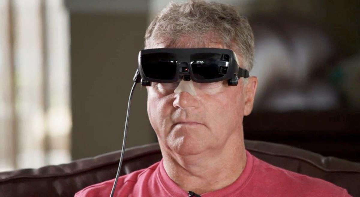 The eSight headset in use