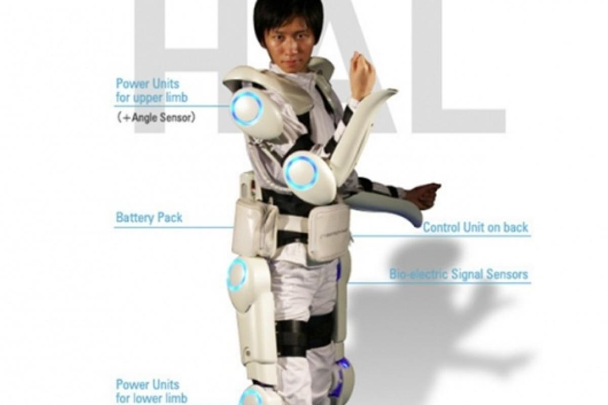 The futuristic-looking Robot Suit HAL designed to assist human movement
