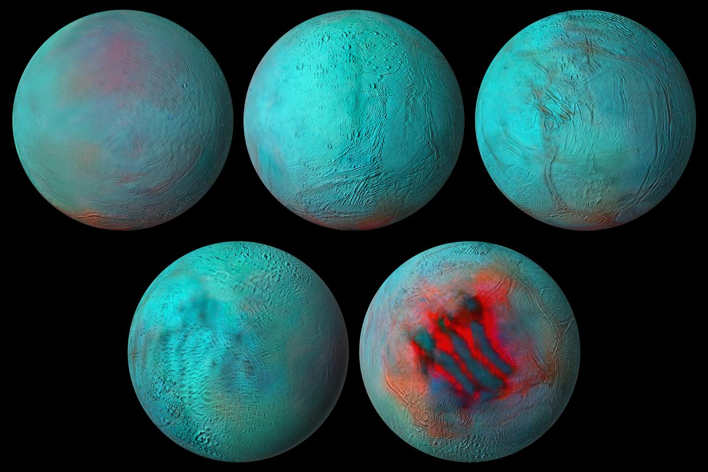 Scientists have constructed a new global infrared mosaic of Enceladus from Cassini mission data