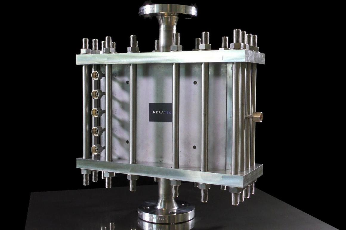 The chemical reactor at the heart of theIneratec system designed to convert CO2 from the air into liquid fuels