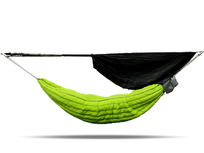 The Swayy Eira hammock comes with a rainfly that can be suspended from a ridge line above