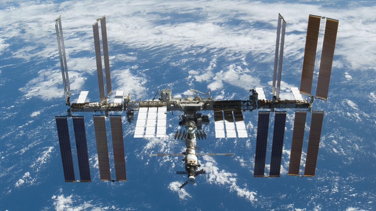 The study made use of medicines returned from the International Space Station (ISS), pictured here from the space shuttle Atlantis in November 2009