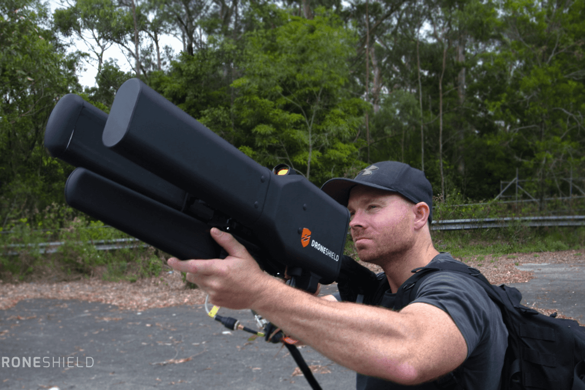 The Dronegun is shaped like an extravagant laser-tag rifle