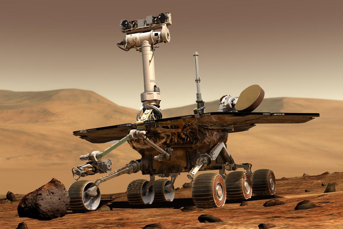 Artist's impression of Opportunity, which has completed a marathon across the Martian surface (Image: NASA)