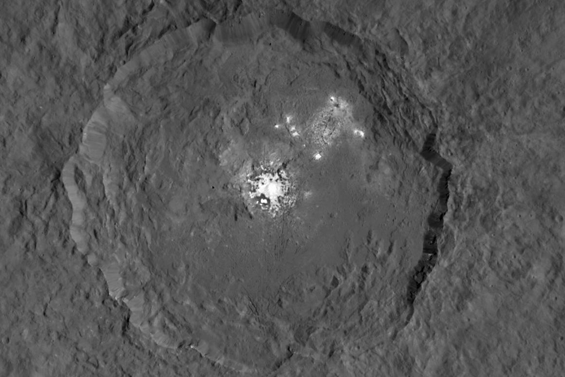 The image was created by combining two shots captured over the course of the probe's third mapping orbit