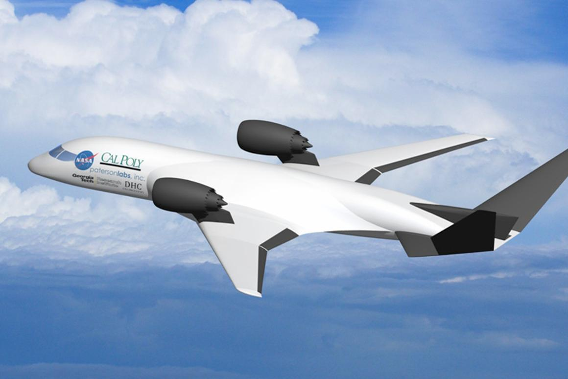 This computer-generated graphic shows a model of the cruise-efficient, short take-off and landing (CESTOL) aircraft design that GTRI researchers are investigating (Image: California Polytechnic State University)