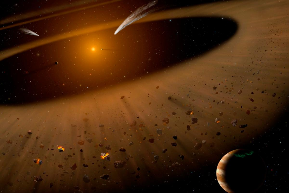 Artist's illustration of the Epsilon Eridani system showing Epsilon Eridani b