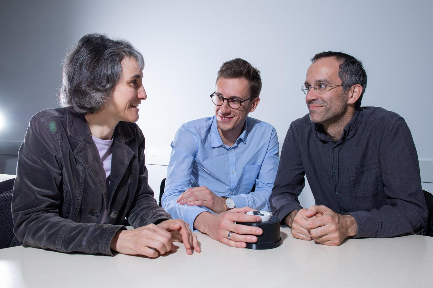 Lead scientists Laura Heyderman (left), Paolo Testa (center) and Eric Dufresne, with a strip of the new material in a magnetic field