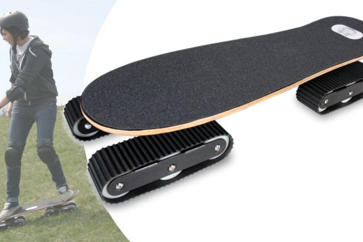 Rockboard is about to release an off-road skateboard called the Descender, that features tank-like tracks instead of wheels