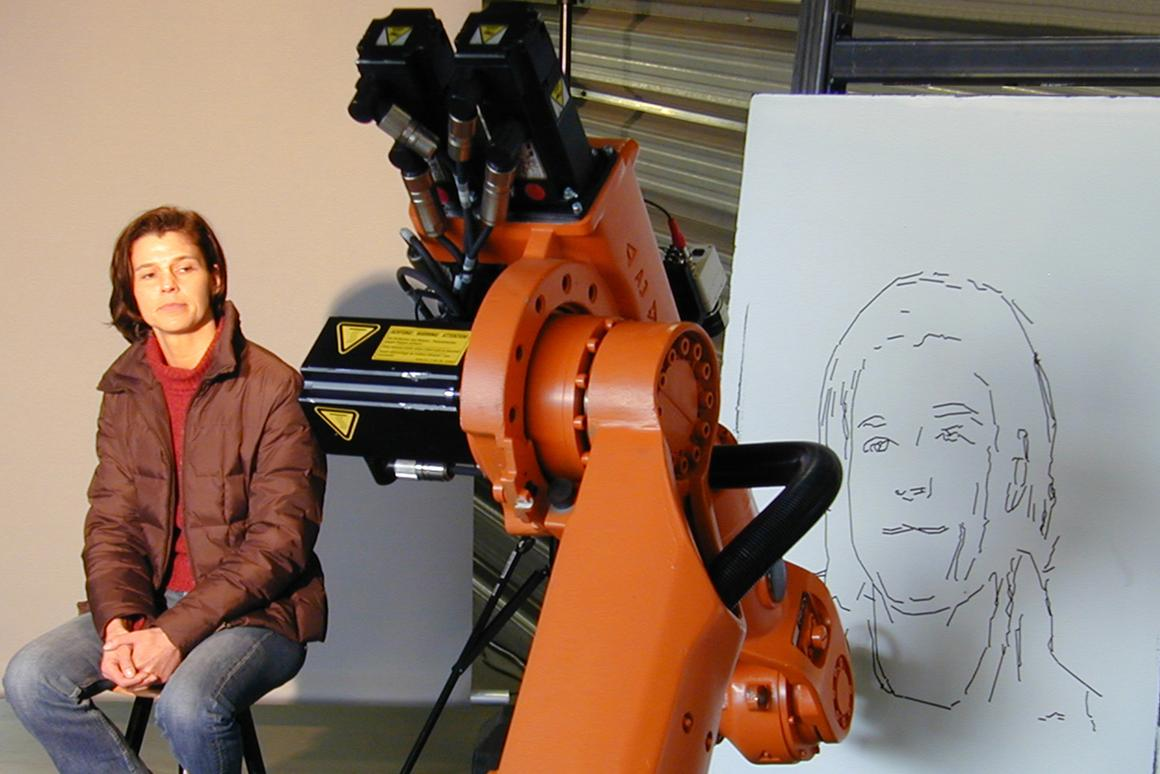 An industrial robot has been modified to autonomously create pencil sketches of human subjects