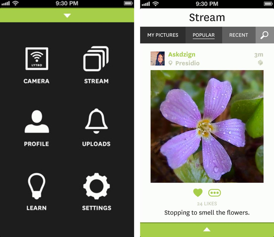 The Lytro Mobile iPhone app lets users share images in their full refocusing glory