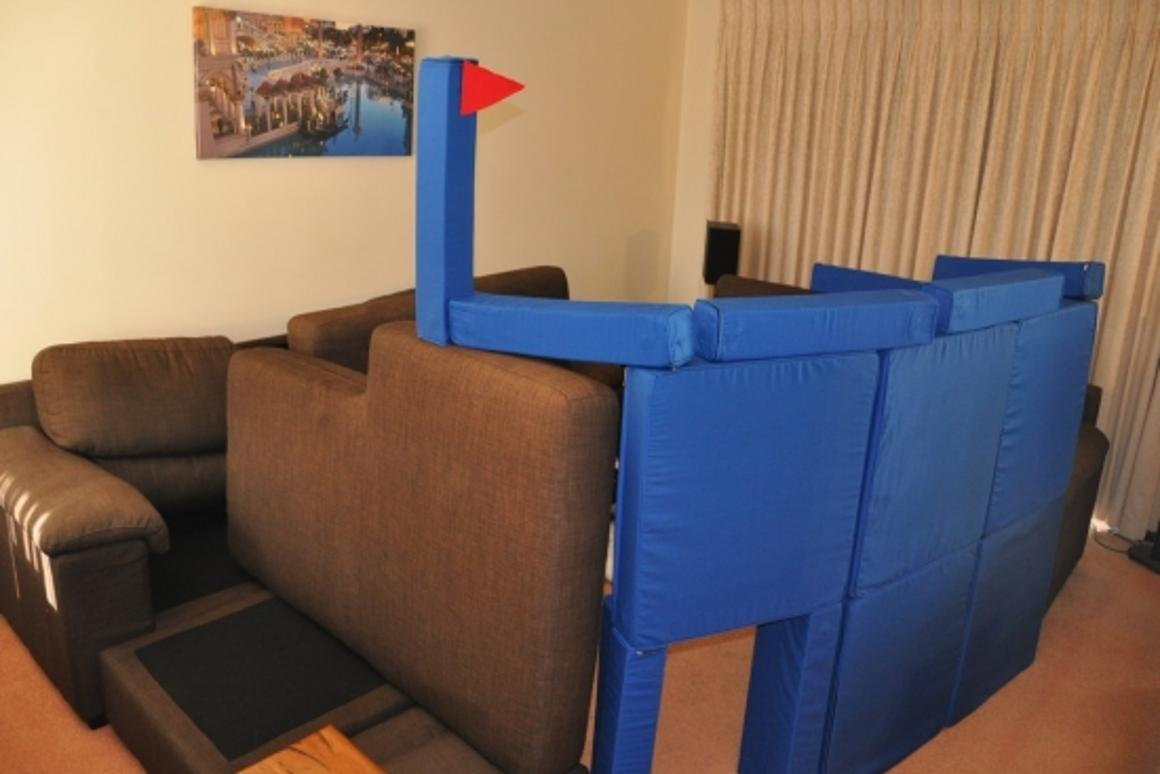 Squishy Forts can be used to create impressive, gravity-defying pillow forts
